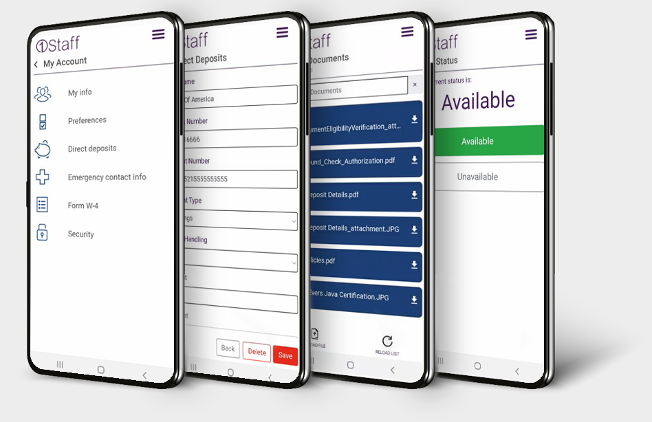 Maintain availability, preferences, details and documents with 1Staff Mobile
